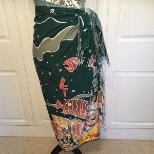 Tropical fish multi-use Tie Wrap Sarong Skirt OSFA